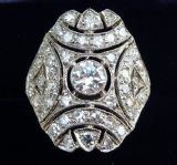 Gorgeous platinum art deco 1.88ct Diamond cluster vintage antique ring